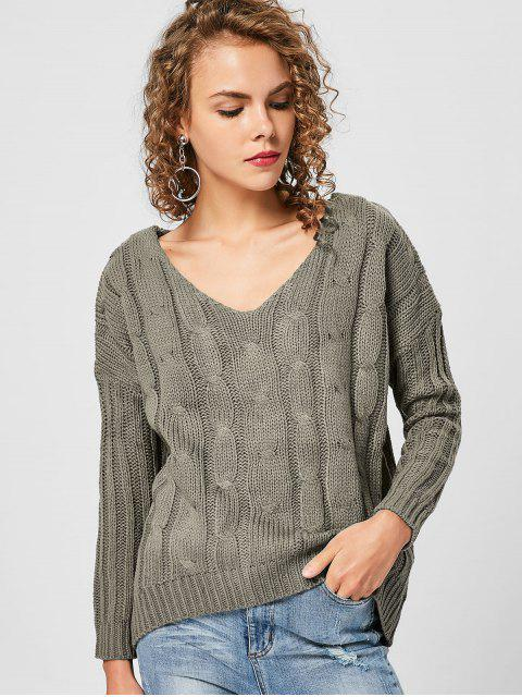 online V Neck Back Strappy Sweater - SAGE GREEN ONE SIZE Mobile