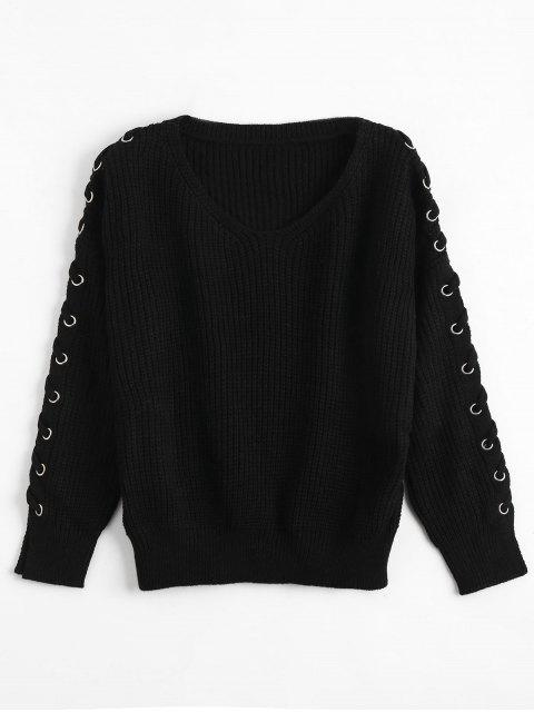 buy V Neck Lace Up Sleeve Sweater - BLACK ONE SIZE Mobile