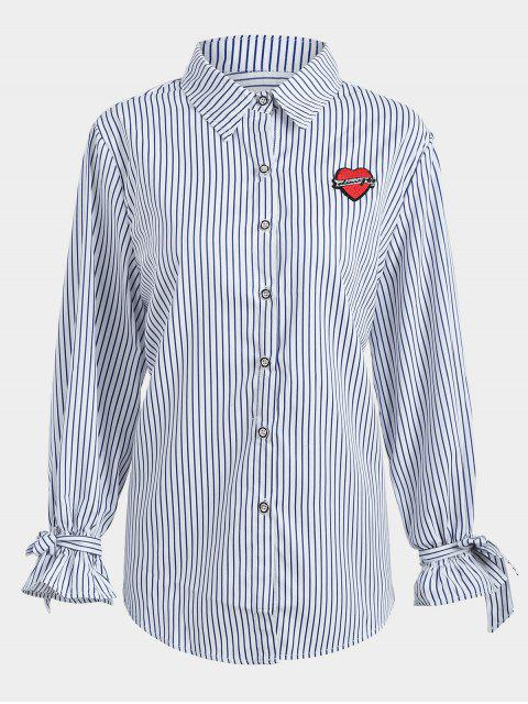 latest Plus Size Applique Striped Shirt - PURPLISH BLUE 2XL Mobile