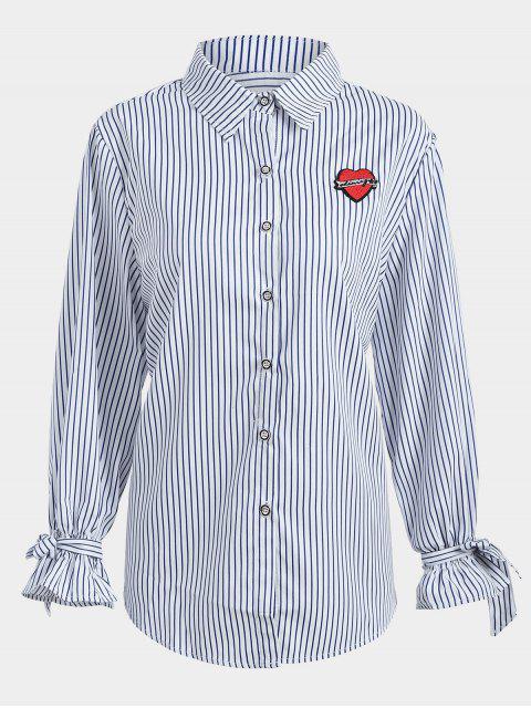 Übergröße Gestreifte Bluse mit Applique - Schwarzblau 3XL Mobile