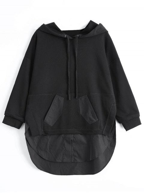 hot Patch Pocket Shirt Hem Hoodie - BLACK XL Mobile