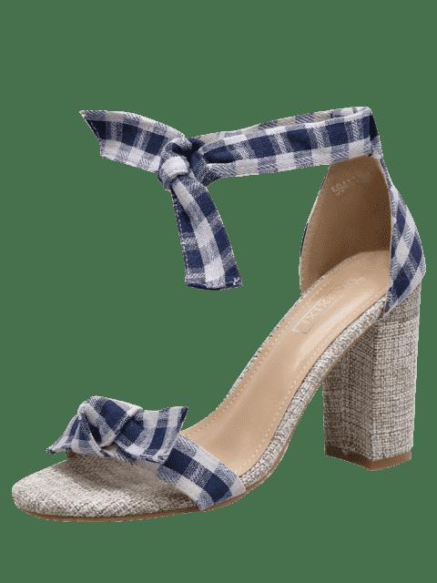 sandalen mit knoten und karomuster blockabsatz blau. Black Bedroom Furniture Sets. Home Design Ideas