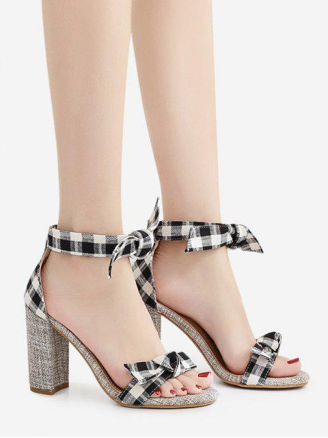 new Bowknot Block Heel Plaid Pattern Sandals - BLACK 37 Mobile