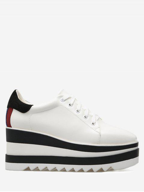 buy Tie Up Platform Square Toe Wedge Shoes - WHITE 37 Mobile