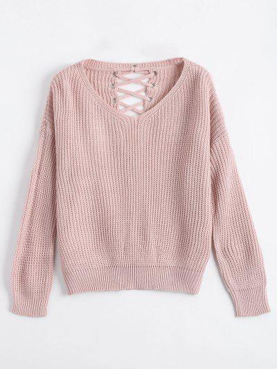 Drop Shoulder Lace Up Chunky Sweater - Nude Pink