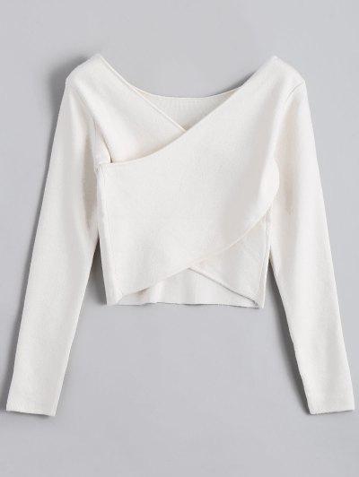 V Neck Overlap Crop Sweater - White