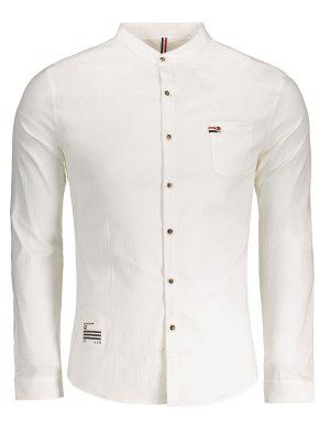 Front Pocket Button Up Shirt - White 3xl