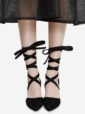 Pointed Toe Tie Up Block Pumps