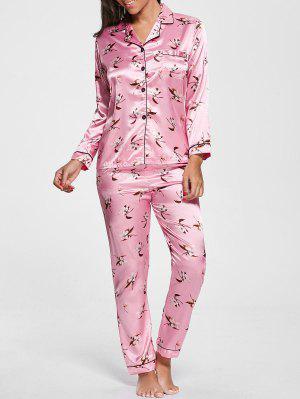 Botón de satén floral para arriba conjunto de pijamas