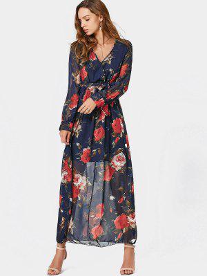 V Neck Floral Print Belted Maxi Dress - Floral M