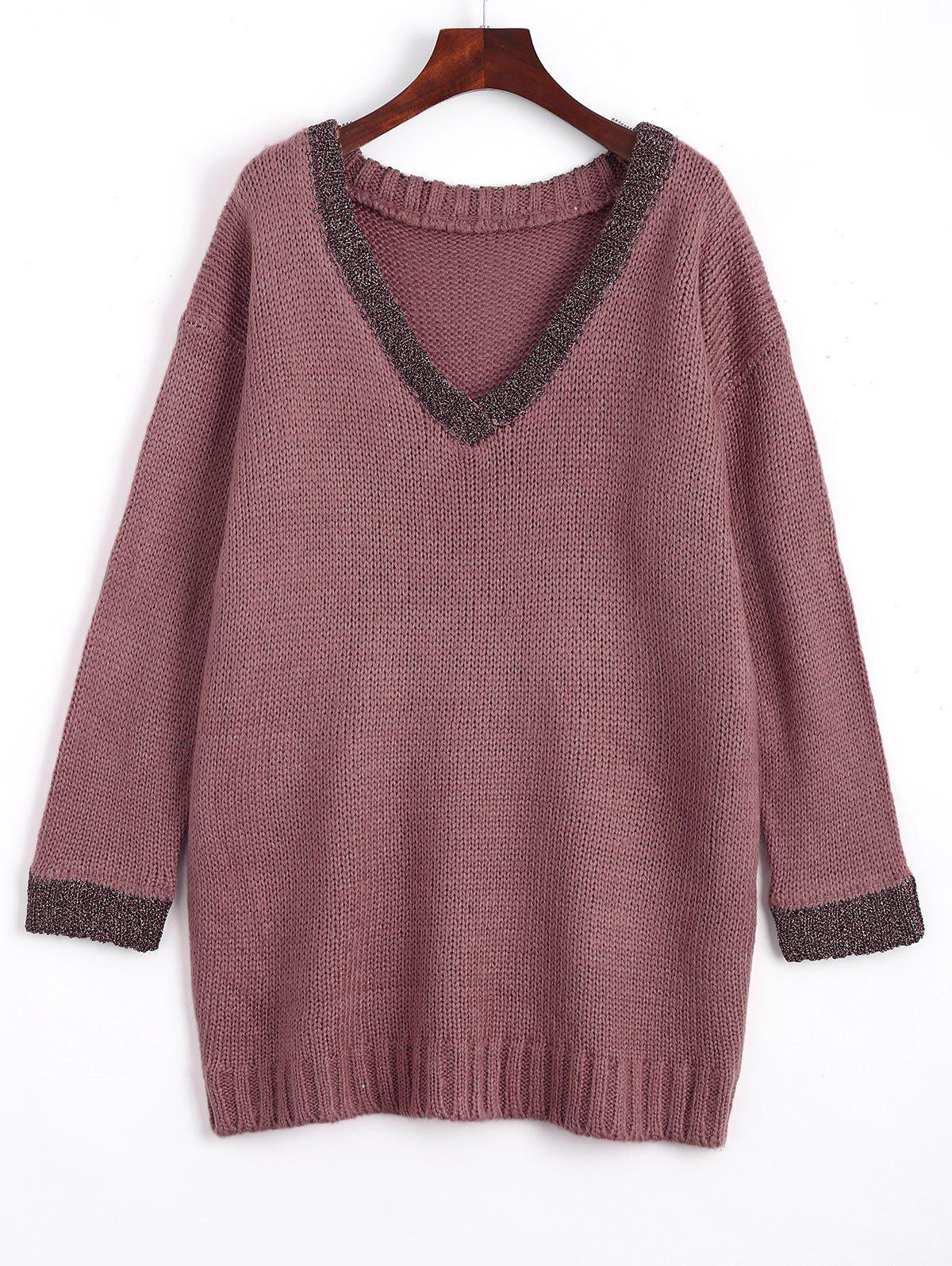 Loose Contrasting V Neck Sweater