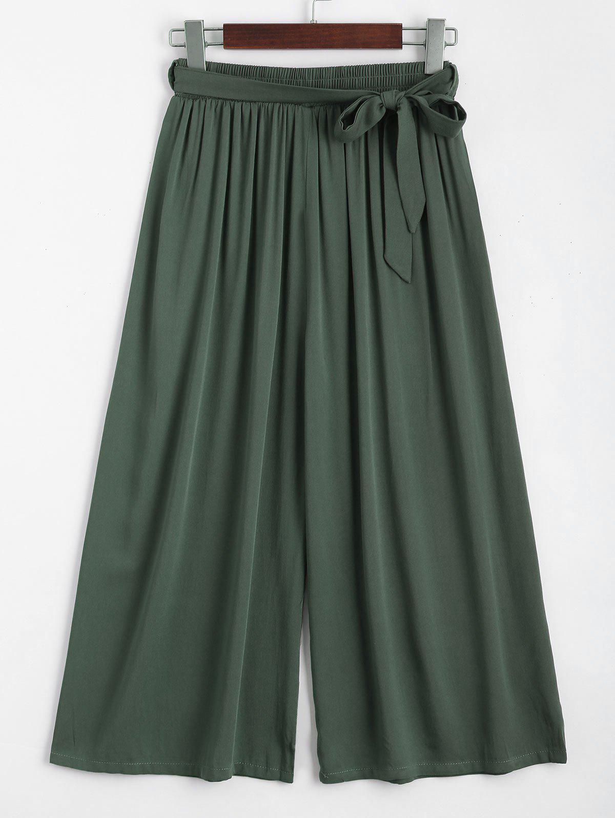 Capri High Waisted Belted Wide Leg Pants 222897205
