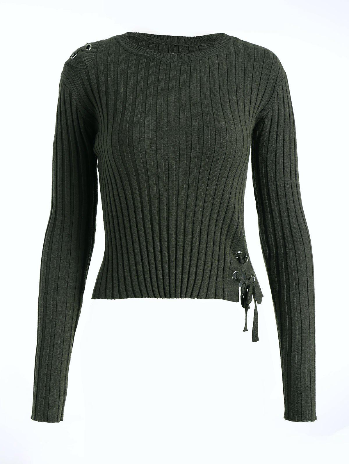 Ribbed Lace Up Sweater 221837301