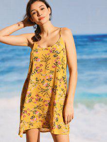 فستان تغطية كامي طباعة الأزهار - الأصفر S