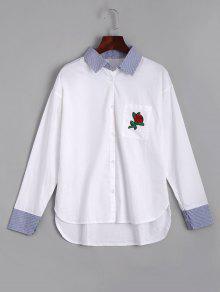 Rose Brodé Stripes High Low Shirt - Blanc L