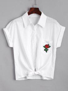 Chemise à Manches Courtes Brodées à L'arc - Blanc S
