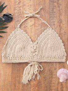 Halter Tassel Crochet Swim Top - Albaricoque