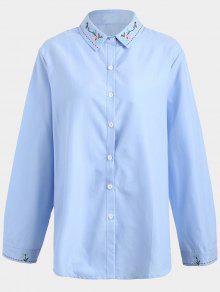 Chemise Brodée Grande Taille - Bleu Xl