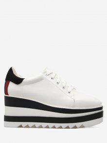 حذاء بكعب من الإسفين مربع الشكل عند الأصابع برباط - أبيض 38