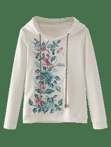 Floral Blanco Bordada M Sudadera Capucha Con Linda SgOqWwt6x