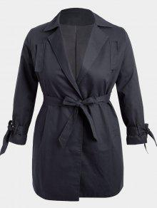 معطف الحجم الكبير لف قطني - أسود 3xl