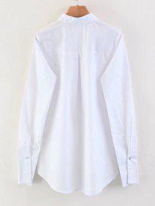 Camisa Baja Floral Blanco Cequis Bordada Los De Alta S ww46ZqP