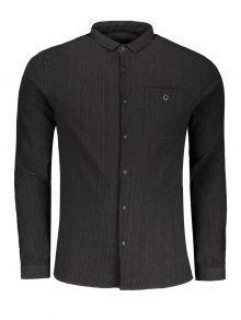 Camisa Con Botones De Botones - Negro Xl