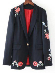 Buy Buttoned Rose Embroidered Blazer - BLACK S