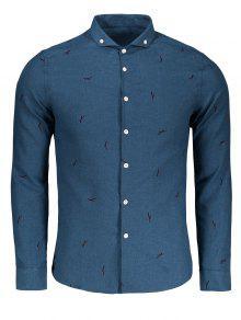 Botón Abajo Impreso Camisa Casual - Azul Xl