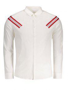 Chemise à Rayures Appliques - Blanc Xl