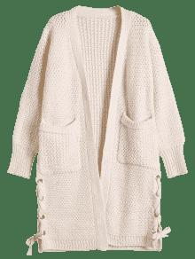 Long Chunky Knit Lace-Up Cardigan OFF-WHITE: Sweaters ONE SIZE | ZAFUL