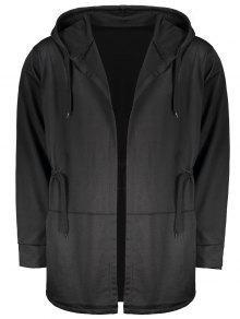 الرباط المفتوحة جبهة معطف مقنع - أسود 3xl