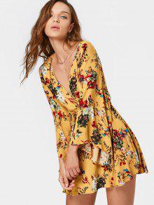 Plunging Cuello Vestido De Impresión Mini Vestido - Floral L