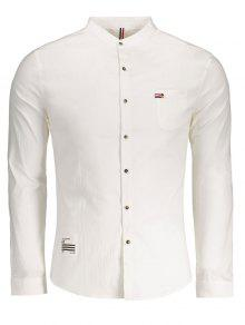 الجبهة جيب زر يصل قميص - أبيض 2xl