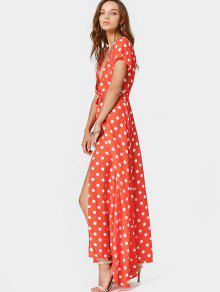 908754bd5b 29% OFF] 2019 Plunging Neck Slit Polka Dot Belted Dress In RED | ZAFUL