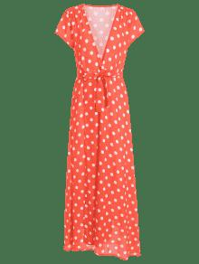 Plunging Neck Slit Polka Dot Belted Dress