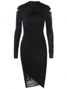 ممزق كم طويل فستان بوديكون - أسود L