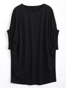 Casual Batwing Manga Camiseta Mini Vestido - Negro M