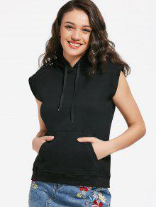 Buy Kangaroo Pocket Sleeveless Hoodie - BLACK M