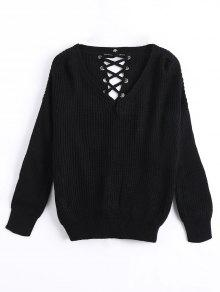 Buy Drop Shoulder Lace Chunky Sweater - BLACK ONE SIZE