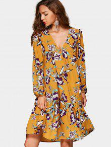Vestido De Impresión Floral Con Cintura De Cuello Impermeable - Floral S