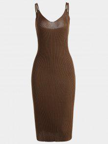 فستان محبوك كامي حزام السباغيتي - بنى