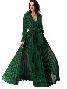 تغرق الرقبة بريق مطوي مربوط فستان حفلة موسيقية - أخضر M