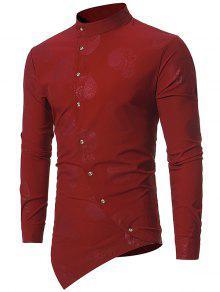 ماندارين كولار قميص غير متناظر حتى قميص بيزلي - نبيذ أحمر S