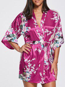 Pijama De Quimono Floral De Cetim De Pavão - Tutti Frutti L