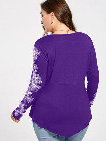c94be9af135 Plus Size Floral Pattern Long Sleeve Draped T-shirt