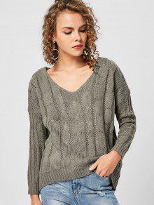 V Neck Shoulder Strappy Sweater - Verde Prudente