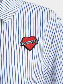 Talla A Azul Camisa Apliques Rayas Purp Grande Con De TXzqAfz