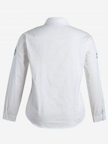 La Camisa En Blanco Bordada 3xl Grande Talla Planta De wqXqUHv4