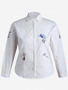 Chemise Grande Taille Bordée Plante - Blanc Xl